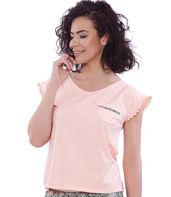 07a1522984216 T-shirt pyjama femme en coton fluo pêche
